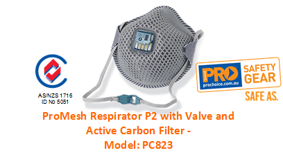 PROCHOICE PC823 PROMESH RESPIRATOR P2 WITH VALVE AND ACTIVE CARBON FILTER