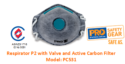 PROCHOICE PC531 RESPIRATOR P2 WITH VALVE AND ACTIVE CARBON FILTER