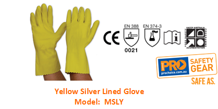 PROCHOICE MSLY YELLOW SILVER LINED GLOVE