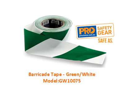 PROCHOICE GW10075 BARRICADE TAPE - GREEN/WHITE