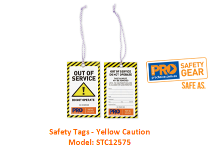 PROCHOICE STC12575 SAFETY TAGS - YELLOW CAUTION