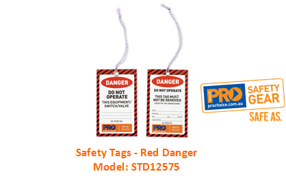 PROCHOICE STD12575 SAFETY TAGS - RED DANGER