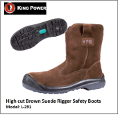 HIGH CUT BROWN SUEDE RIGGER SAFETY BOOTS