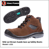 MID CUT BROWN SUEDE LACE UP SAFETY BOOTS