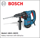 BOSCH GBH3-28DFR Rotary Hammer with SDS-plus