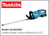 "MAKITA BUH650RD Cordless Hedge Trimmer 650mm (25-1/2"")"