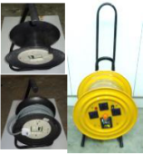 "4WAY X 3PIN CABLE REEL W/O CABLE METAL CASE  ""YELLOW"""